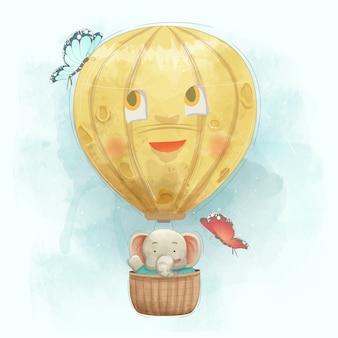 Elefante fofo voando com o balão de ar