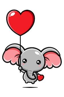 Elefante fofo voando com um balão do amor