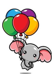 Elefante fofo voando com um balão