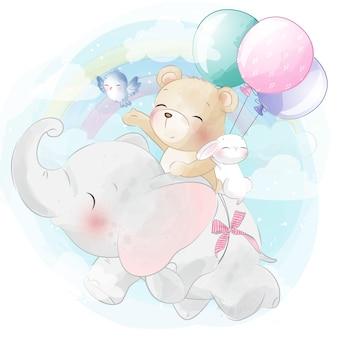 Elefante fofo voando no céu com urso e coelhinho