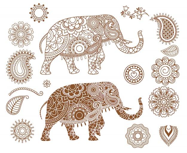 Elefante indiano com padrões mehendi