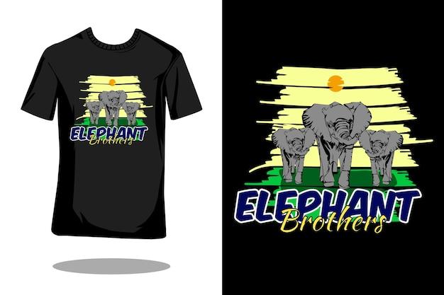 Elefante irmão mão desenhar um design de camiseta vintage