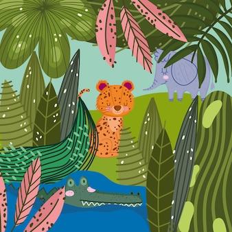 Elefante leopardo e crocodilo no desenho animado da natureza da folhagem de água