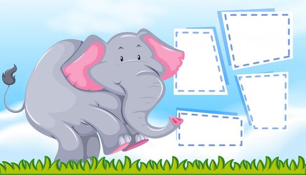 Elefante na nota em branco