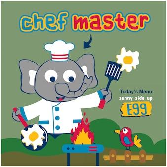 Elefante o chef mestre de animal engraçado dos desenhos animados