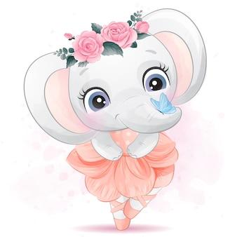Elefante pequeno bonito com dança de balé