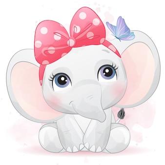 Elefante pequeno bonito com efeito aquarela