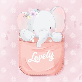 Elefante pequeno bonito dentro do bolso