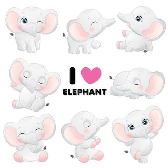 Elefante pequeno bonito posa com ilustração em aquarela