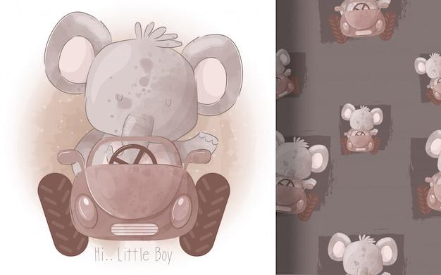 Elefante pequeno bonito sem costura padrão de carro. ilustração para crianças
