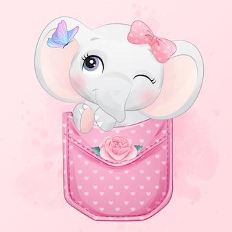 Elefante pequeno bonito sentado dentro da ilustração de bolso