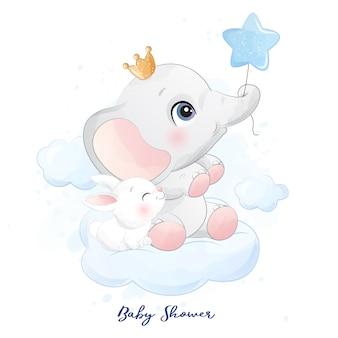Elefante pequeno bonito sentado na nuvem com ilustração de coelho