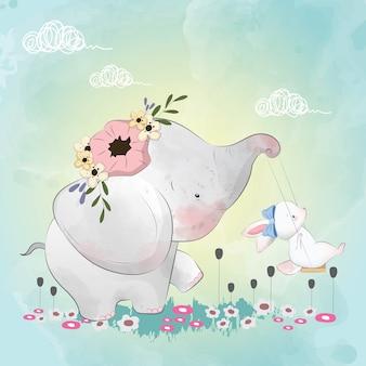 Elefante pequeno com seus amigos coelho no baloiço