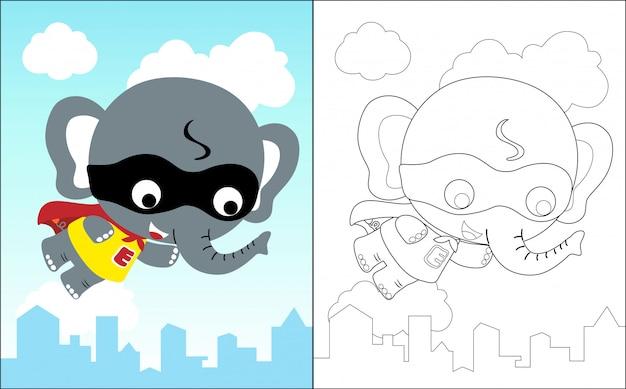 Elefante pequeno o desenho animado engraçado super herói