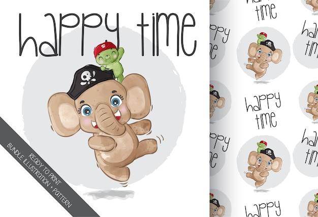 Elefante pirata animal fofo com tartaruga bebê com padrão uniforme