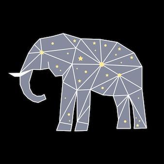 Elefante poligonal abstrato isolado no fundo preto. vista lateral. capa futurista pintada em cores imaginárias