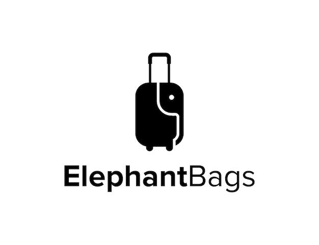 Elefante preto com malas viagem viagem simples logotipo design vector