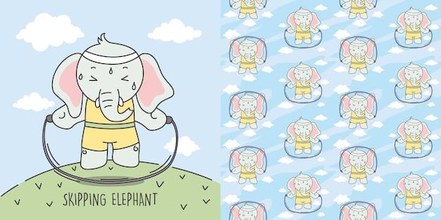 Elefante pulando para tornar o corpo padrão ideal e sem costura