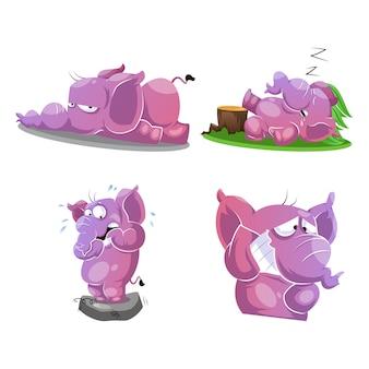Elefante rosa fofo em 4 poses e emoções diferentes