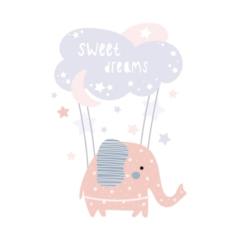 Elefante rosa fofo está voando em uma nuvem