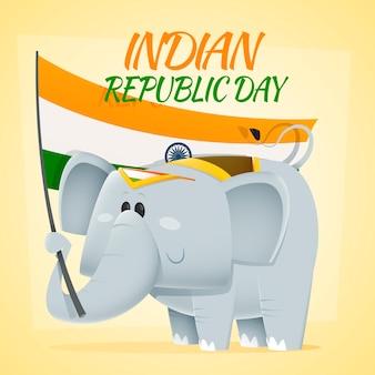 Elefante segurando uma bandeira da índia