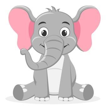 Elefante sentado e sorrindo em um branco. personagem.