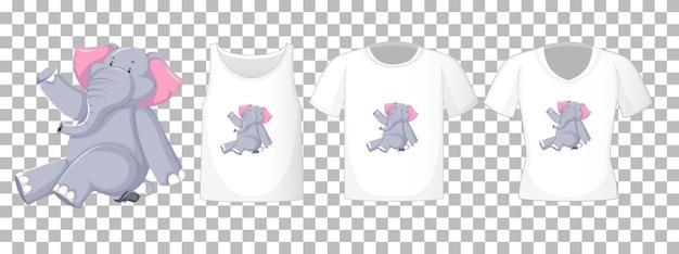 Elefante sentado em um personagem de desenho animado com muitos tipos de camisas transparentes