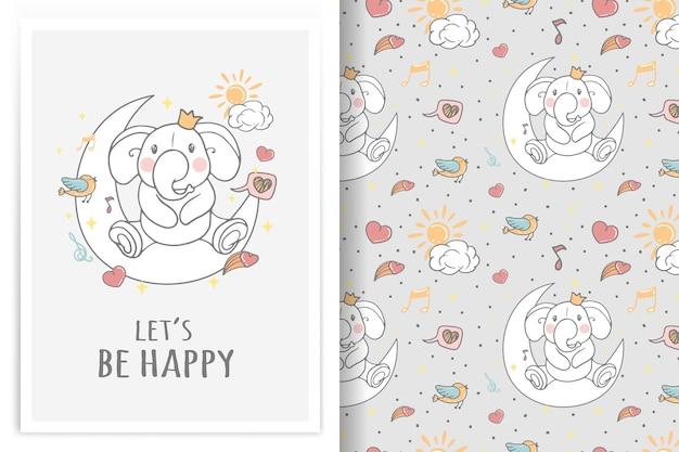 Elefante sentado na lua ilustração e padrão sem emenda