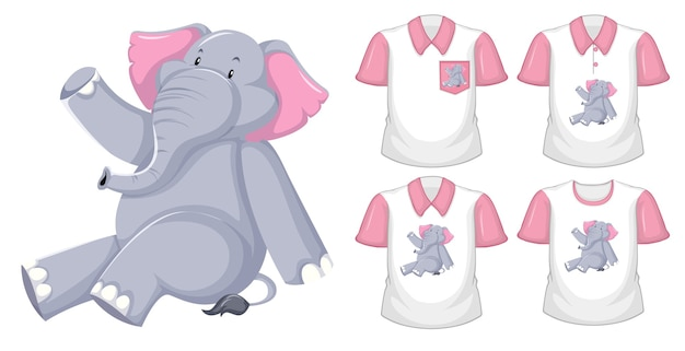 Elefante sentado, personagem de desenho animado com muitos tipos de camisas