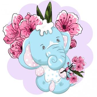 Elefante sentado vector