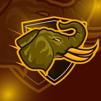Elefante strong head logotipo da mascote esport para jogos esportivos e vetores gratuitos premium esportivos