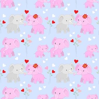 Elefantes bonitos dos desenhos animados e coração forma padrão sem emenda.