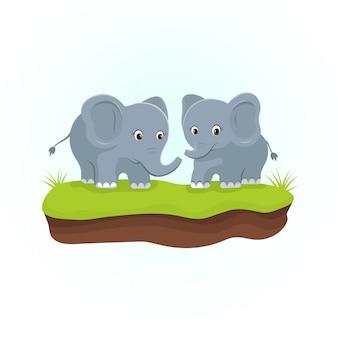 Elefantes bonitos nas gramas verdes. personagem de desenho animado de animais