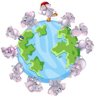 Elefantes cinzentos pelo mundo
