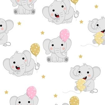 Elefantes de bebê fofo com balão e estrela padrão sem emenda