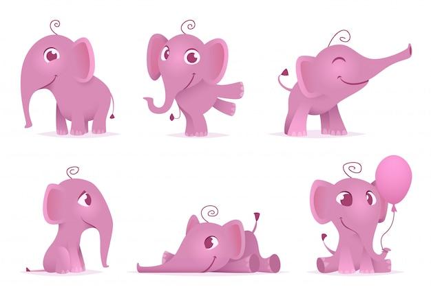 Elefantes de bebê fofo. personagens de animais adoráveis engraçados africanos selvagens em poses de ação diferente
