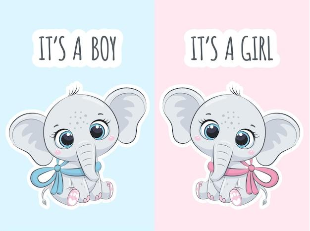Elefantes fofos com a frase é um menino, é uma menina.