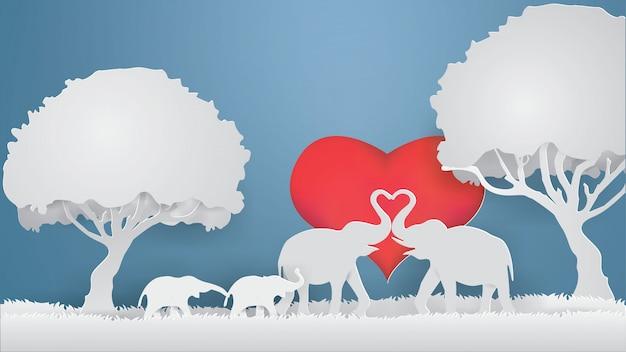 Elefantes mostram amor na grama cinza com fundo de coração, vetor de estilo de artesanato de papel