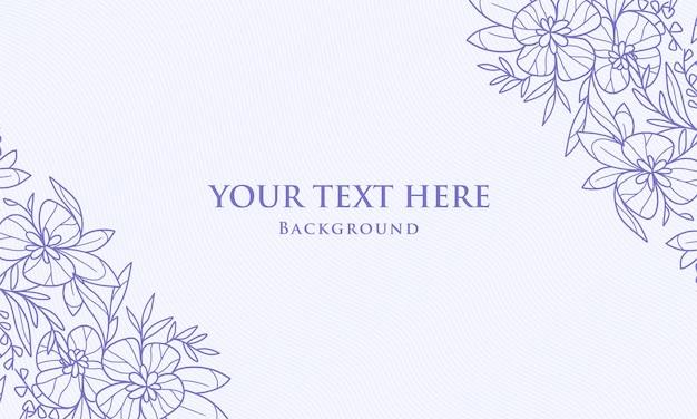 Elegant vintage corner symmetrical blue planta floral folha ilustração desenhada à mão