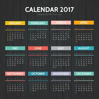 Elegante 2017 calendário colorido