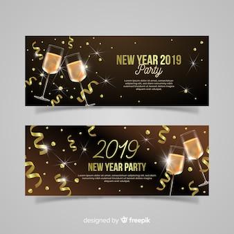 Elegante 2019 banners de festa de ano novo com design realista