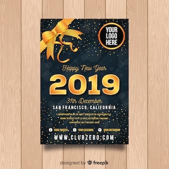Elegante 2019 cartaz de festa de ano novo com elementos dourados