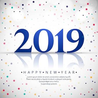 Elegante 2019 feliz ano novo design de cartão colorido