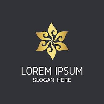 Elegante absract chama e design de logotipo de flor.
