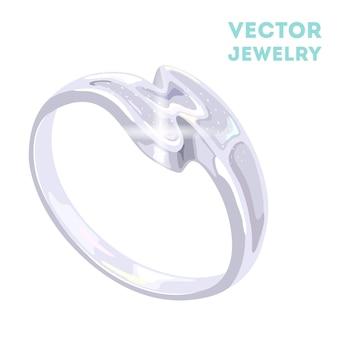 Elegante anel de platina em forma de s, ouro branco ou prata