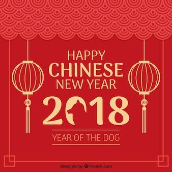 Elegante ano novo chinês vermelho