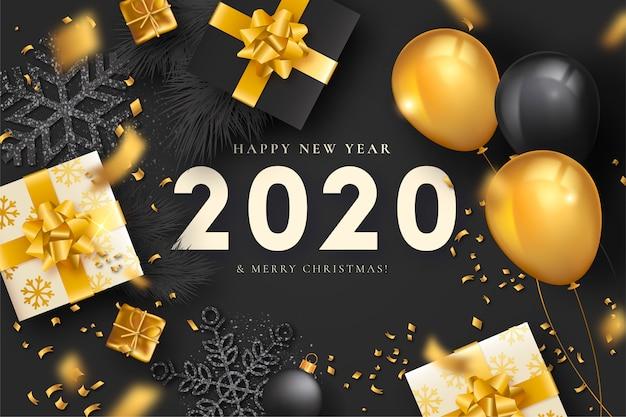 Elegante ano novo fundo com decoração de luxo