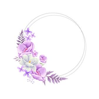Elegante aquarela linda flores roxas e quadro de folhas