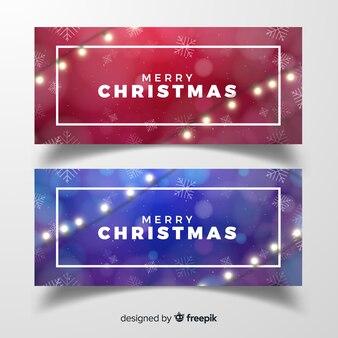 Elegante banner de natal com guirlanda de luz