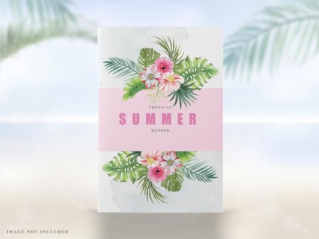 Elegante banner de verão com folhas tropicais